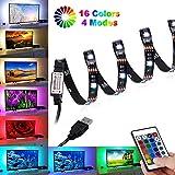 Tira LED TV 2M, BrizLabs Tiras LED Iluminación USB Retroiluminación LED de TV con Control Remoto 24 Botones, 16 RGB Colores y 4...