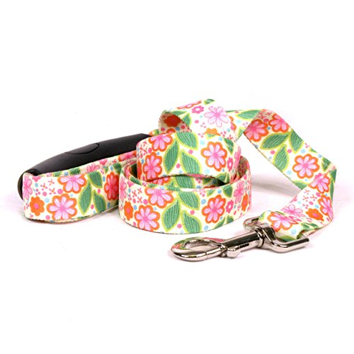 "Yellow Dog Design Flower Patch Ez-Grip Dog Leash with Comfort Handle 3/4"" Wide"