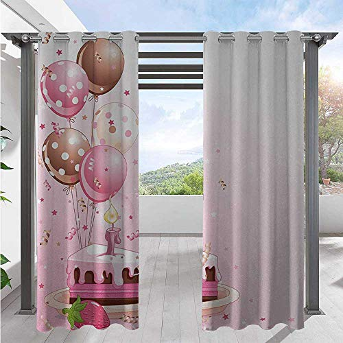 Home Curtains Strawberry Pink Slice of Cake Candle Dotted Balloons and Confetti Celebration Pergola Outdoor Drapes Waterproof Windproof and Add Some Coolness as Well Pink Tan Cream W120 x L108 Inch