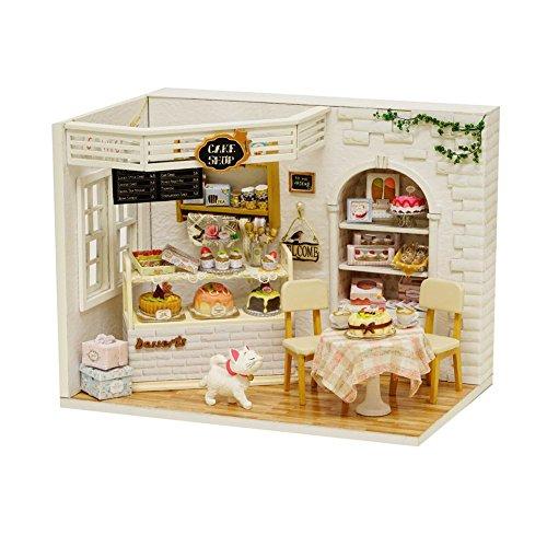Hearthrousy DIY Puppenhaus Miniatur Haus Selber Bauen Zum Basteln Zubehör Holz Lernspielzeug Spielzeug Kinder 3D Zusammengebautes Toy Wooden Innovative Birthday Gift-Kuchentagebuch