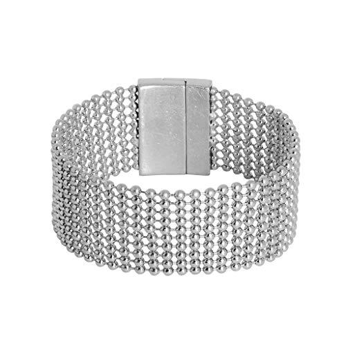 SENCE Copenhagen Silence K152 - Bracciale con chiusura magnetica, colore: argento opaco