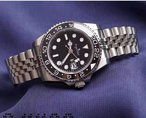 LESHARED Mannen Automatische Mechanische Horloges Zwart Blauw Rood Keramische Bezel Gmt RVS Saffier Glas Horloge Aaa