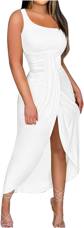 Women's Summer Fashion Sexy Solid Strapless One Shoulder Long Dress Beach Split Dress Slim Ruched Bodycon Dress