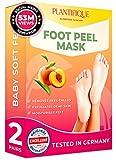 PLANTIFIQUE Fußmaske Pfirsich Hornhaut Socken - Foot Peel Mask Hornhautentferner Socken - Wirksam bei Schwielen, Abgestorbener und Trockener Haut - Tief Rissige Fersen Reparat - 2 Paare
