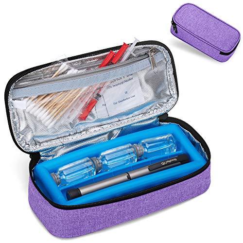 Luxja Insulin Kühltasche mit Kühlakku, Diabetiker Reisetasche mit Kühlelement, Isoliertasche für Insulin, Diabetes Medikament und Diabetikerzubehör, Groß, Lila
