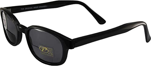 Pacific Coast The Original KD's Biker Shades By PCSUN Black Frames +1.75 Magnification Smoke Lenses