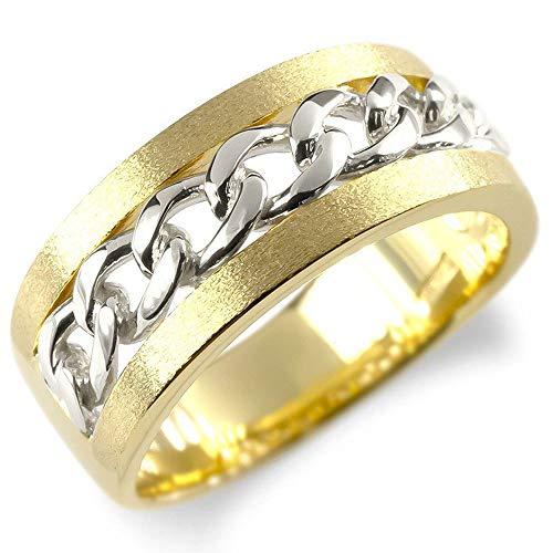 [アトラス] Atrus リング メンズ 18金 pt900 イエローゴールドk18 プラチナ 喜平 キヘイ コンビ 幅広 地金 つや消し 指輪 22号