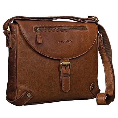 STILORD Vintage Damen Umhängetasche Lederhandtasche 10,1 Zoll Tablettasche Handtasche Abendtasche aus Leder Cognac Dunkelbraun