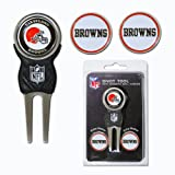 Team Golf NFL Cleveland Browns Divot Tool with 3 Golf Ball Markers Pack, Markers are Removable Magnetic Double-Sided Enamel
