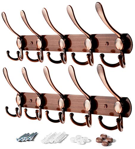 VASGOR 2pcs Heavy Duty Wall Mounted Coat Hook , Stainless Steel Rack of 5 Tri Hooks for Coats , Towels, Purse Robes Keys and Hats . Multi Purpose for Kitchen, Bedroom, Bathroom, Entryway (Copper)