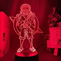 Tatapai 3DナイトライトイリュージョンデコレーションランプワンピースモンキーD.ルフィフィギュアキッズナイトライトLEDバッテリー式常夜灯家の装飾用3Dランプルフィ