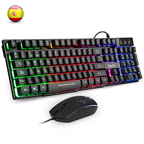 Mafiti Three Color LED Backlit Mechanical Feeling USB Wired Gaming Keyboard and Mouse Combo for Working or Game