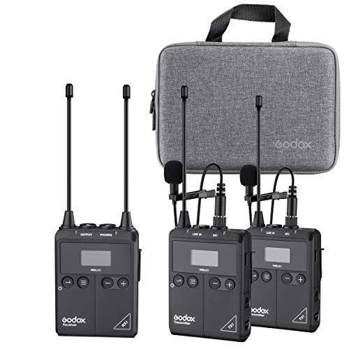Godox Pro VMicS1 - Sistema de micrófono inalámbrico de solapa VMicS1 (2 transmisores TX1 + 1 receptor RX1 con HD OLED, 96 canales, anti interferencia de imagen, HF ajustable, larga vida útil