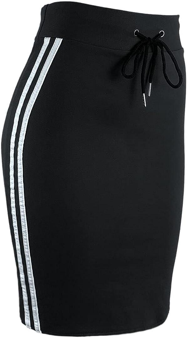 WANG SHUN HONG Women's Striped Stretch Knee-Length Pencil Skirt