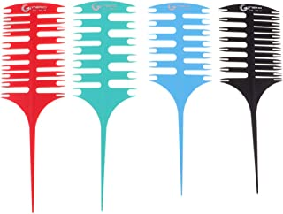 DYNWAVE 2-Way Weaving & Sectioning Foiling Comb Set (4-Packs) for Hair Coloring, Foiling, Highlighting, Balayage, Microbraiding and More