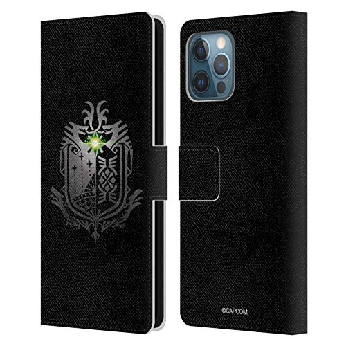 Head Case Designs Officially Licensed Monster Hunter World Black Logos Leather Book Wallet Case Cover Compatible with Apple iPhone 12 Pro Max