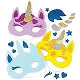 """Baker Ross Masken-Sets """"Einhorn"""" für Kinder zum Gestalten und Dekorieren – Kreatives Bastelset für Kinder (4 Stück)"""