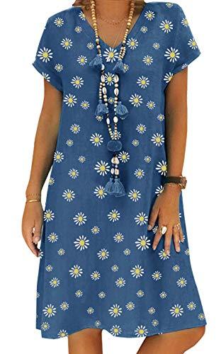 Yidarton Sommerkleid Leinen Kleider Damen V-Ausschnitt Strandkleider Einfarbig A-Linie Kleid Boho Knielang Kleid Ohne Zubehör (Zv/Blau, 3XL)