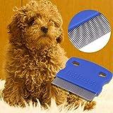 Z-NING 2 Pezzi Super Deal Cane Pulce Pettine Spazzola in Acciaio Pettine per Capelli Dog Grooming Trimmer Carino Pet Cat Pettine per Cani, Blu, S