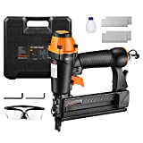 "Brad Nailer, Air-powered, TACKLIFE 18GA 2-in-1 Nailer, 5/8""-2', Wider Visual Nail Indicator, 200pcs Brad Nails and 200pcs Crown Staples, 360 Degree Adjustable Exhaust, and CE Safety Glasses 