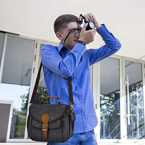 UBAYMAX Canvas DSLR Kameratasche Umhängetasche, wasserdichte Vintage SLR Tasche Fototasche mit Echt Leder Dekoration, Kamera Messenger Sling Schultertasche für Spiegelreflex (Ⅱ Dunkelgrau)
