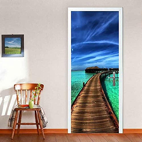 BARFPY Adhesivo para puerta con efecto 3D Puente de madera con cielo azul y vistas al mar Autoadhesiva Vinilo Removible de Arte Puerta Pegatina Pared Murales para dormitorio Cocina Sala de Baño Decora