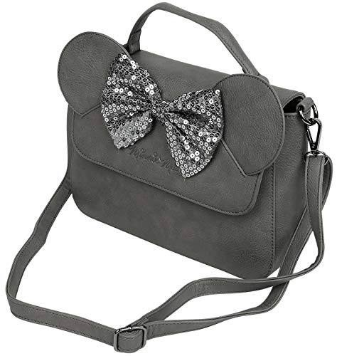 Loungefly x Minnie Mouse Sequin Bow Crossbody Bag, Grey, 11.5