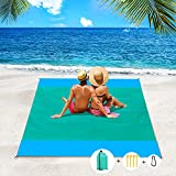 Apfity Beach Blanket Sandproof, 83''×79'' Waterproof Beach Blankets, Lightweight Picnic Beach Mat for 4-7 Adults, Sand Free Blanket for Outdoor Travel, Camping, Hiking Light Blue Green