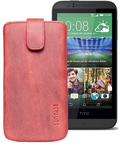 Original Suncase® Etui Tasche für HTC Desire 510 | HTC Desire 526G Dual SIM | ZTE Blade V6 Leder Etui Handytasche Ledertasche Schutzhülle Hülle Hülle *Lasche mit Rückzugfunktion* antik-rot
