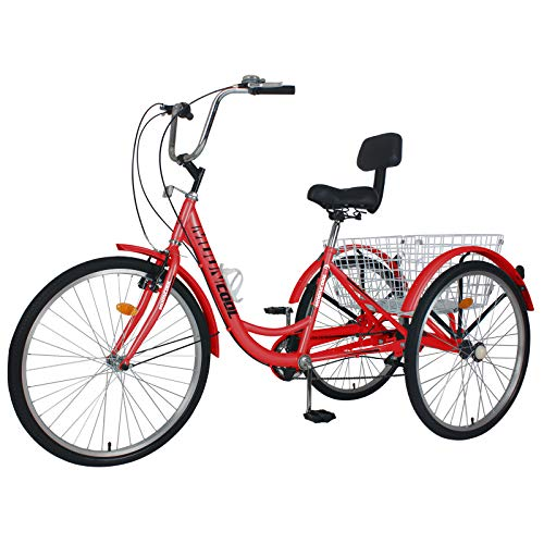 Barbella Adult Tricycle, 24-Inch Single and 7 Speed Three-Wheeled Cruise Bike with Large Size Basket for Recreation, Shopping, Exercise Men's Women's Bike (Red)