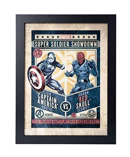 Grupo Erik Cuadro Decorativo Marvel Comics Captain América Vs Red Skull, Redskull, 30 X 40 Cm