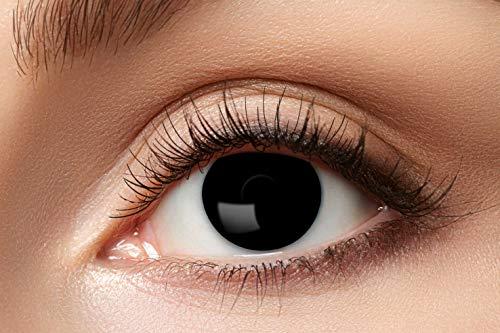 Eyecatcher - Farbige Kontaktlinsen, Farblinsen, Jahreslinsen, 2 Stück, Halloween, Karneval, Fasching, Hexe, schwarz, black