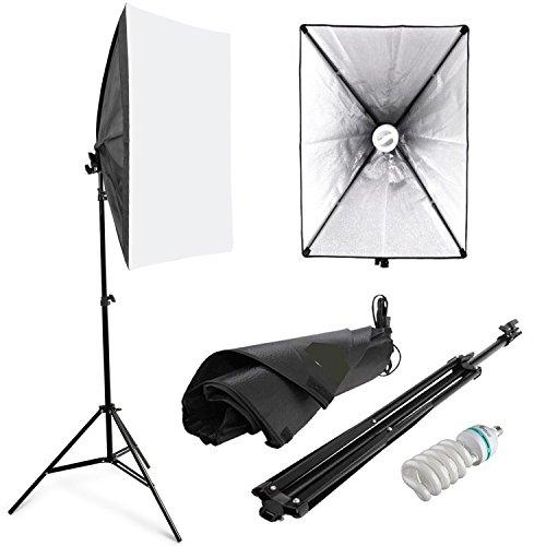 Amzdeal Softbox 50 x 70 cm Kit de lluminación Ventana de luz para fotográfico, Lluminación Continua Estudio Fotografía - 1x 135W Bombilla+ 1x Softbox + 1x Trípode Montaje Universal + Bolsa de Tela versión