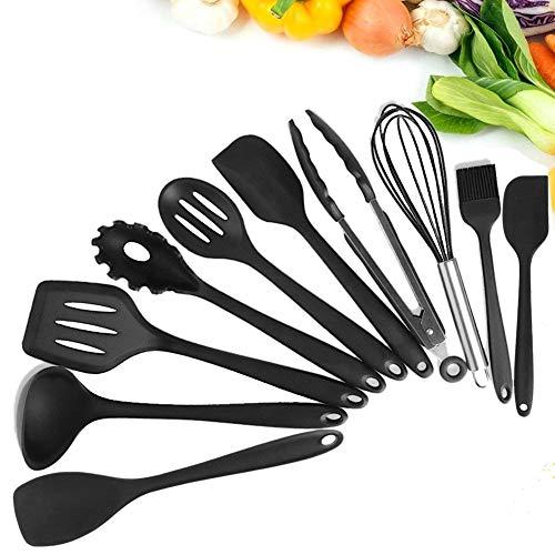 HAUEA Silikon Küchenhelfer Set Kochen zubehör Grillzange Pfannenwender Spaghettilöffel Schneebesen Löffel Spachtel Schöpflöffel Pinsel (10 Stück)