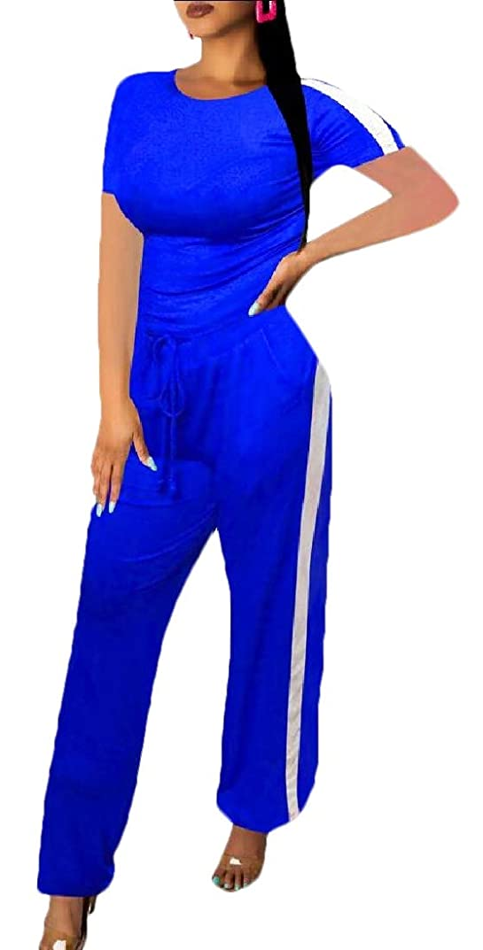 軍ゲージ不正Womens 2 Piece Sports Outfit Set Shirt Pants Joggers Tracksuit Sportswear Set