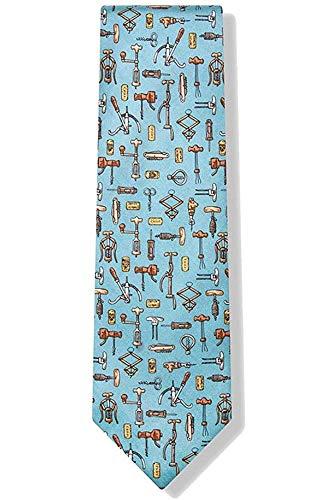 Hombres 100% seda Vintage antiguos abridores de vino sacacorchos corcho tornillos corbata...