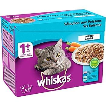 Whiskas Sélection aux Poissons en Gelée – Nourriture humide pour chat adulte – Alimentation complète en sachets fraîcheur – 4 x 12 x 100g