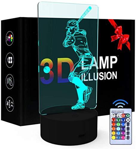 Lámpara de ilusión óptica LED de béisbol 3D con luz nocturna de 16 colores que cambia la lámpara de decoración – Regalo perfecto para niños y habitación decoración