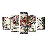 KOPASD De Lienzo De Pared Arte Pintura Corazón Flor Resumen para DecoracióN del Dormitorio Y El Hogar, Arte Mural,Ideal para Decorar La Casa 5 Partes (Sin Marco)