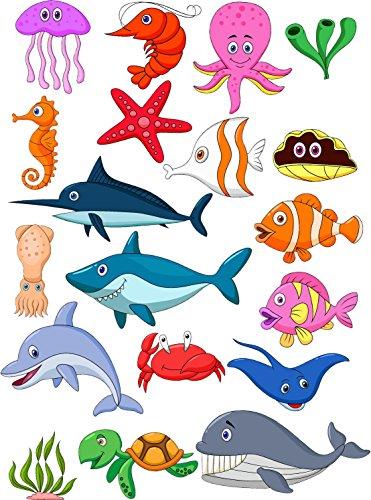 Red Parrot Graphics Autocollant mural animaux marins pour salle de bains, pour enfant, complète impression couleur, Red, A4 (21cm x 29cm0