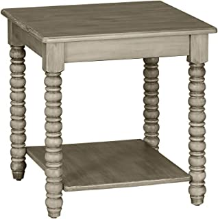 MUSEHOMEINC Roman Mid-Century Wood End Table with Turning Leg Design for Living Room or Bedroom/Nightstand/Side Table, Distressed Grey Finish