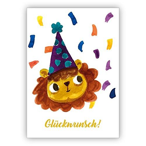 Vrolijk geschilderde wenskaart met party leeuw als wenskaart voor de overgang, eerste schooldag, verjaardag en wat er nog te vieren is: felicitatie • felicitatiekaarten met enveloppen. 4 Grußkarten geel