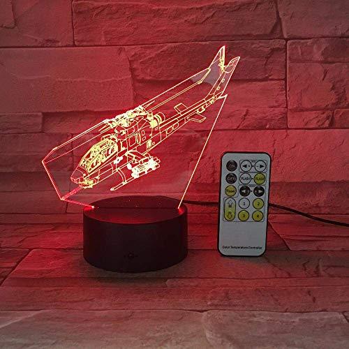 Lámpara de ilusión 3D Luz de noche LED Helicóptero Control remoto Lámpara de mesa táctil 7 colores que cambian Regalo de fiesta para niños Los mejores regalos de vacaciones de cumpleaños para niñ