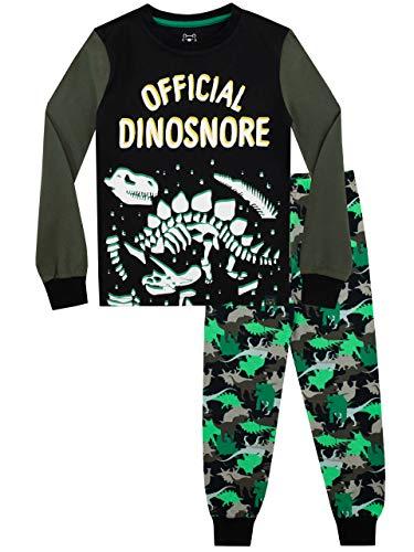 Harry Bear Jungen Dinosaurier Schlafanzug Slim Fit Im Dunkeln leuchten Schwarz 128