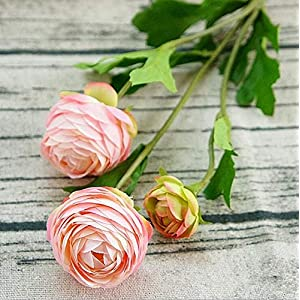 Artificial and Dried Flower 3Heads Artificial Ranunculus Asiaticus Rose Fake Flowers Silk Flores artificiales for Autumn Wedding Decoration kunstbloemen