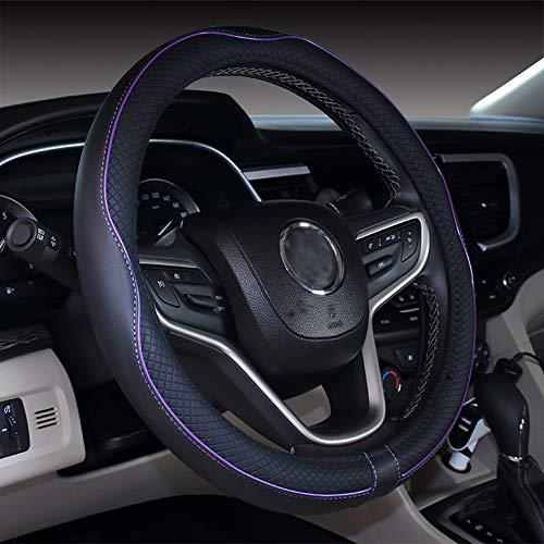 Cubierta de volante de cuero de microfibra 38 cm para la mayoría de los autos (Negro morado)