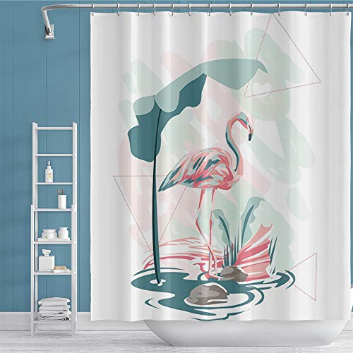 """Musemailer Tropical Flamingo Shower Curtain 65""""x71"""" Polyester Watercolor Pink Bird Green Leaves Geometry Design Waterproof Fabric White Shower Curtain Decor for Home Dorm Bathroom Bathtub Restroom"""