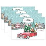Red Truck Tree Christmas Gifts Manteles individuales Dachshund Dog Snow Table Mats Antideslizantes, lavables, resistentes al calor, individuales para cocina, comedor, decoración, bandeja, tapete, 12 '