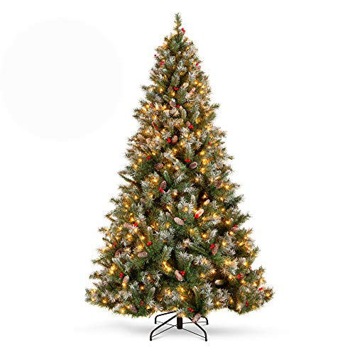 Best Choice Products 6Ft Pre-lit Pre-Decorated Pine Hinged Artificial Christmas Tree w/ 818 Flocked Frosted Tips, 58 Pine Cones, 58 Berries, 250 Lights, Metal Base