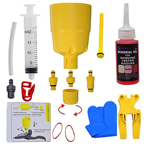 CYCOBYCO Kit di spurgo Imbuto/Tappo Olio per Freni a Disco Idraulici MTB da Strada Shimano con Kit di spurgo Fluido Olio Minerale da 60 ml